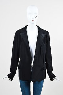 Lanvin Lanvin Ete 2006 Black Wool Linen Wrap Front Long Sleeve Blazer Jacket