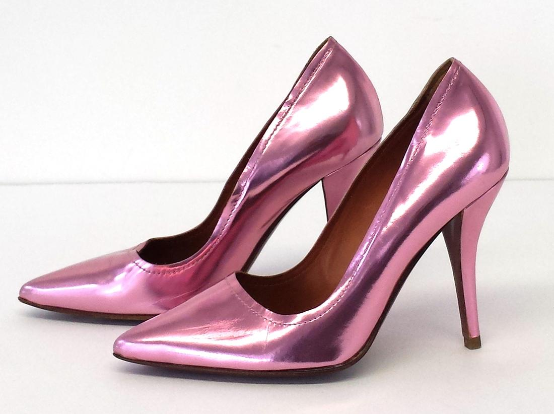 Lanvin Pink Metallic Leather Pointed Pumps Size US 6 Narrow (Aa, N ...