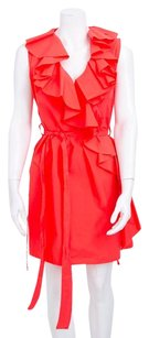 Lanvin Coral Cotton Ruffle Ruched Zip Elastic Waist Belt 3862 Dress