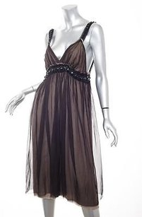 Lanvin short dress Brown Womens Dark Silk Chiffon Jewel Sleeveless Shift 408 on Tradesy