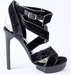Lanvin Strappy Velvet Black Pumps
