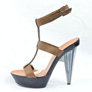 Lanvin Womens Platform Lucite High Heel Ankle Strappy Sandal Browns Pumps