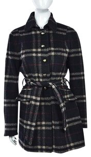 Laundry by Shelli Segal Womens Black Plaid Basic Wool Long Sleeve Casual Coat