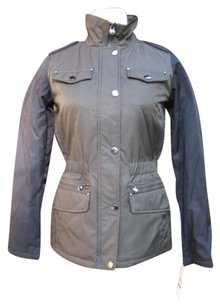 Laundry by Shelli Segal Mixed Media Quilted Military Jacket