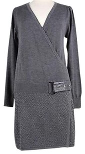 Laundry by Shelli Segal short dress Gray Design Womens Solid Long Sleeve Polyester Blend on Tradesy