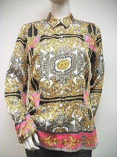 Laundry by Shelli Segal Baroque Print Button Up N3s24s34 Top Multi-Color
