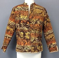 Laura Ashley Laura Ashley Brown Orange Floral Quilted Silk Magnet Front Blazer Sma 7033