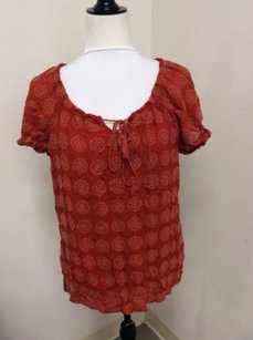 Laura Scott Burnt Cotton Embroidered Hippie Boho Top Orange