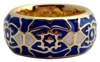 Lauren G Adams Lauren G Adams Gold Blue With White Enamel Band Ring
