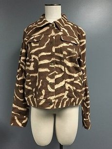 Lauren Jeans Company Cotton Blend Animal Print Collared Sma6441 Brown Jacket