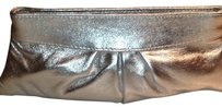 Lauren Merkin Metallic Leather Magnetic Closure Lined Pleated Silver Clutch