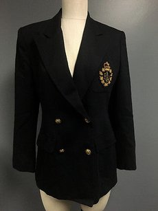 Lauren Ralph Lauren Lauren Ralph Lauren Blue Wool Double Breasted Long Sleeve Blazer Sma260