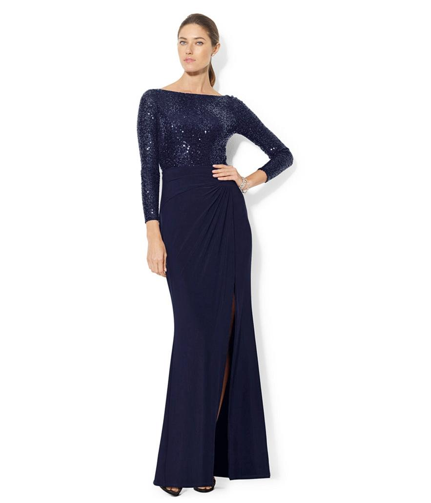 Lauren Ralph Lauren Sequin Full Length Jersey Dress ...