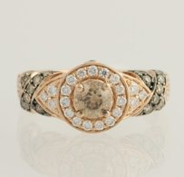 Le Vian Le Vian Chocolate Vanilla Diamond Ring - 14k Strawberry Gold Genuine 1.20ctw