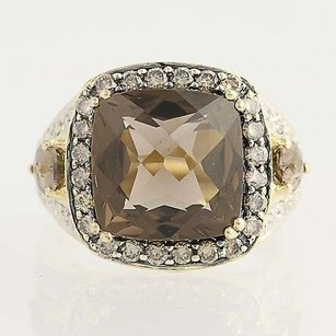 Le Vian Smoky Quartz Levian Chocolate Diamond Halo Ring 14k Yellow Gold Cocktail 8.27ctw