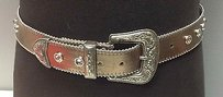Leatherock Leatherock Silver Leather Rhinestone Accent Buckle Front Casual Belt B2466