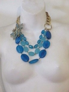 Lee Angel Lee Angel Blue Crystal Butterfly Stone Layered Statement Necklace
