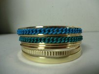 Lee Angel Lee Angel Color Therapy Blu Grn Enamel Rope Gold Multi Bangle Set