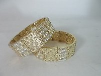 Lee Angel Lee Angel Gold Crystal Square Heavy Stretch Bangle Bracelet 195 Ea Lot Of