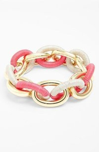 Lee Angel Lee Angel Gold Link Pink Grey Wrap Stretch Bracelet