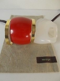 Lee Angel Lee Angel Paloma Red Bubble Metal Gold Bangle Bracelet Set Of Nid