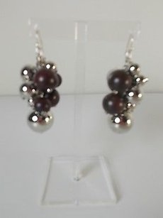 Lee Angel Lee Angel Pheobe Silver Bead Wood Cluster Dangle Earrings