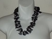 Lee Angel Lee Angel Sofia Silver Pearl Black Tuille Tie Necklace