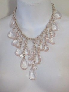 Lee Angel Lee Angel White Rope Gold Link Multi Teadrop Escalating Necklace