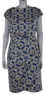 Lela Rose Womens Blue Knee Length Printed Cap Sleeve Sheath Dress