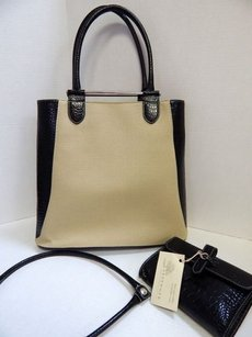 Levenger Croc Leather Canvas Tote in Black