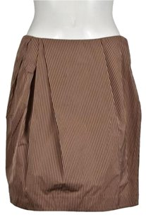 Lida Baday Womens Striped Above Knee Casual Skirt Brown, Tan, White