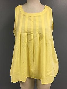 Lilla P Cotton Blend Sleeveless Pleated Scoop Neck 3767a Top Yellow