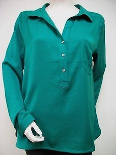 Lilla P Woven Collared Button Front Wc4bc Long Sleeves Top Green