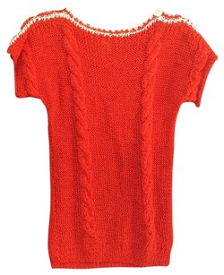 Lillie Rubin Buttons Cable Knit Sweater