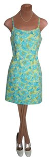 Lilly Pulitzer short dress AQUA BLUE COTTON PRINT Adjustable Straps on Tradesy