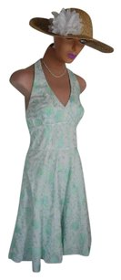 Lilly Pulitzer short dress WHITE COTTON + BLUE PRINT Excellent Condition Quality Workmanship on Tradesy