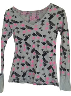 Lilu V-neck Longsleeve T Shirt Grey, black, pink