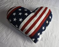Lisa Nieves Beautiful America inspired heart shaped pillow. Made in the USA - Meas