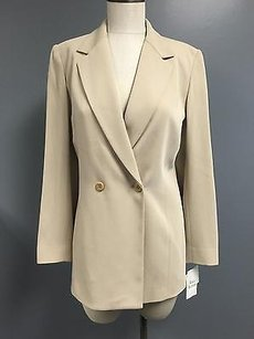 Liz Claiborne Liz Claiborne Collection Beige Collared Two Button Blazer Sma4451