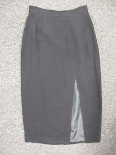 Liz Claiborne Solid Flat Front Long Pencil W Slit V177 Skirt Black