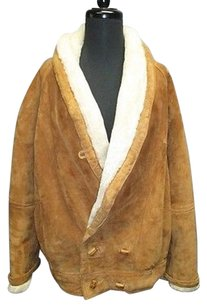LNR for Nordstrom Camel Genuine Leather Faux Fur Lined Button Front Sma7537 Coat
