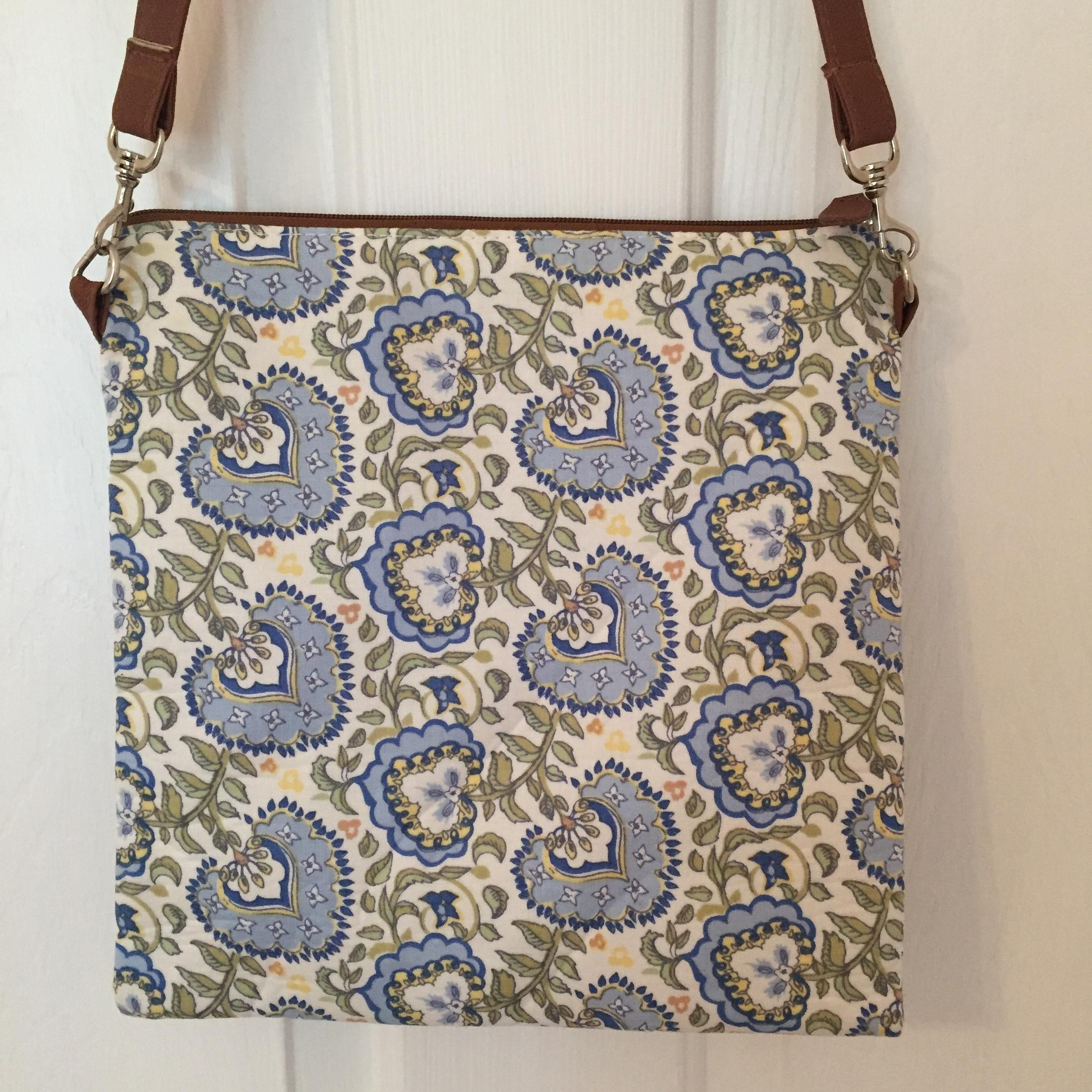 Longaberger Blue/Green/White Floral With Tan Detail Cross Body Bag | Cross Body Bags On Sale