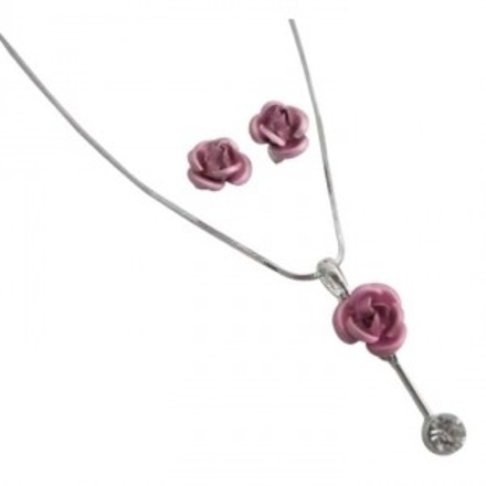 Looking Xmas Gifts Pink Rose Pendant Earrings Jewelry Set In Gift Box