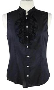 Lord & Taylor Amp Womens Shirt Cotton Sleeveless Top Black