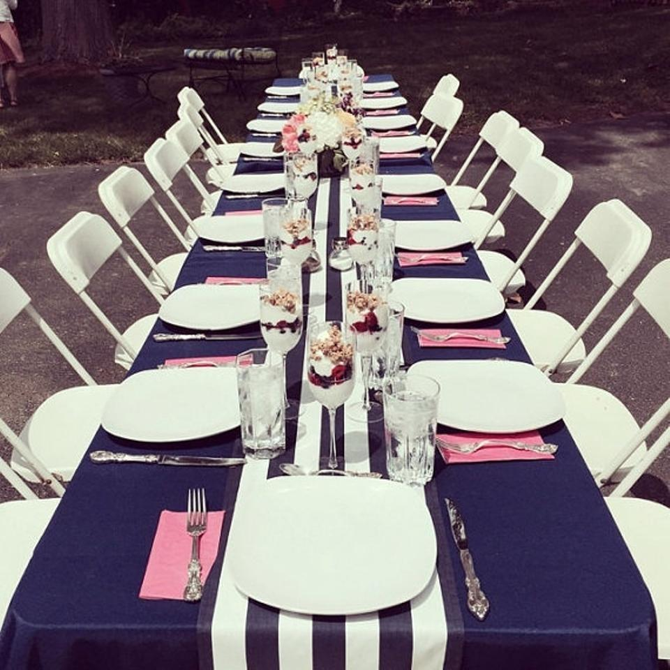 Beautiful Navy And White 4 Table Runners Event Party Decor Banquet Tablecloth    Tradesy