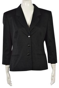 Louis Feraud Louis Feraud Womens Black Blazer Cotton Long Sleeve Career Jacket Wtw