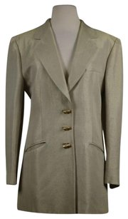Louis Feraud Louse Feraud Womens Beige Gold Blazer Med Cotton Jacket Career