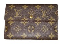 Louis Vuitton 100% Authentic Louis Vuitton Brown Monogram Passport Travel Pouchette Wallet with Coin Purse