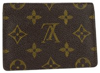 Louis Vuitton Auth LOUIS VUITTON Bifold Pass Card Case Monogram Leather Brown France 08Z697