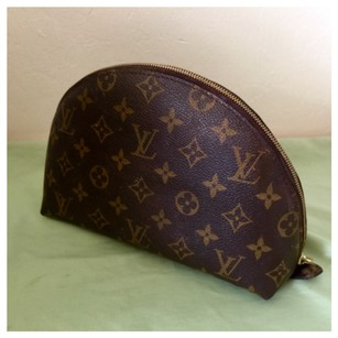 Louis Vuitton Auth LOUIS VUITTON Cosmetic Pouch Clutch Hand Bag Monogram Leather Brown No PEELED & STICKY At All